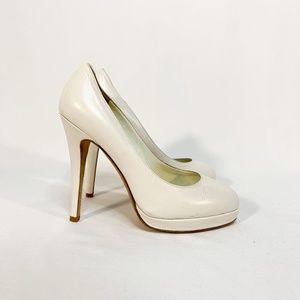 "JILL STUART White Leather Pumps Heel 4.5"" Toe Cap"